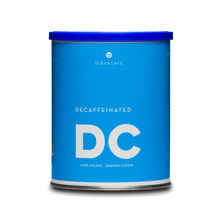 Dibarcafe blik 250 gram gemalen koffie decafe