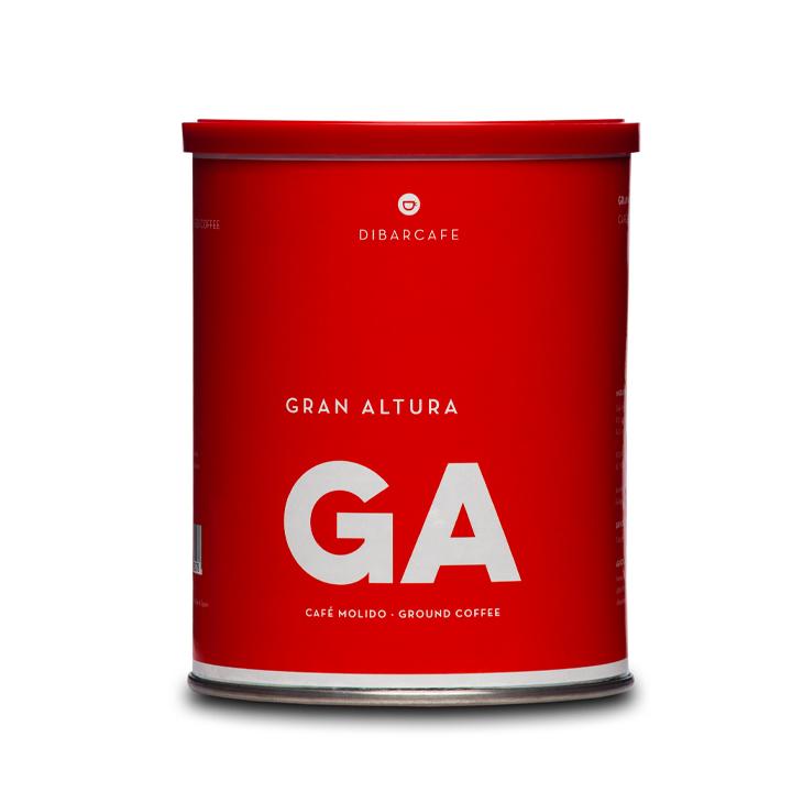 Dibarcafe blik 250 gram gemalen koffie gran altura-vierkant